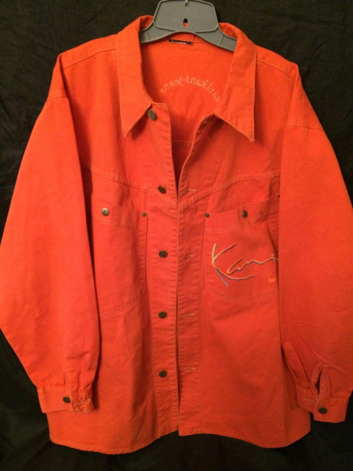 karl kani jeans orange heavy denim 2xl 3xl jacket shirt. Black Bedroom Furniture Sets. Home Design Ideas