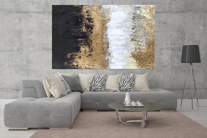 Black And Gold Abstract Industrial Art Modern Office Decor Etsy In 2020 Modern Office Decor Wall Art Living Room Living Room Wall