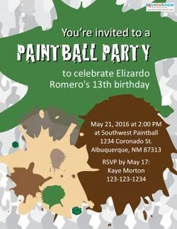 Free Paintball Party Invitation Template Paintball Party Birthday Party Invitation Wording Paintball Birthday