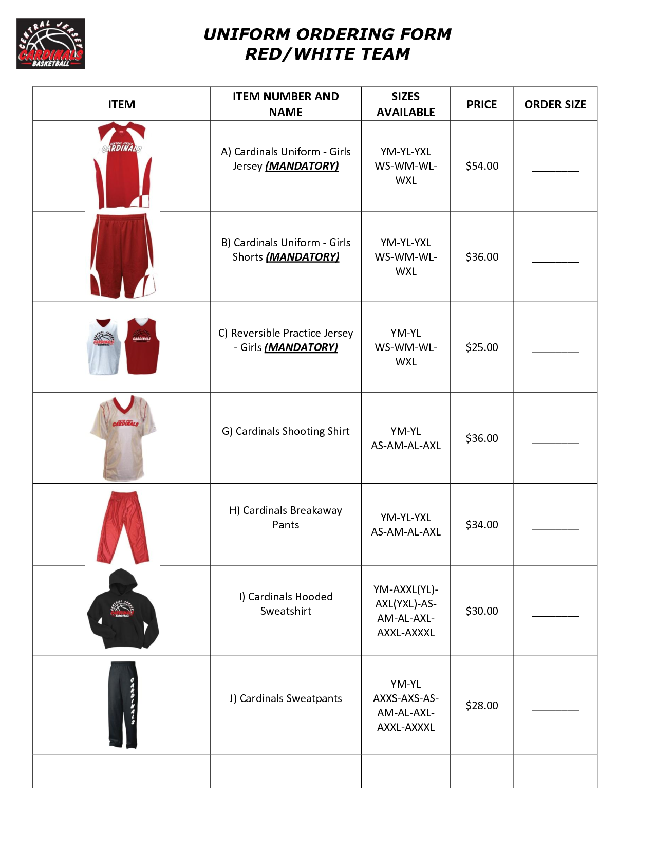 Team Uniform Order Form Template