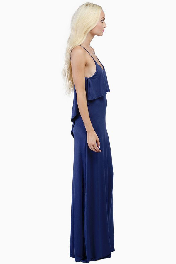 Blue Dresses, Tobi, Navy Beyond The Sea Maxi Dress