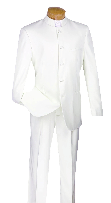VINCI Men/'s White Sharkskin Banded Collar Slim Fit Tuxedo Suit NEW