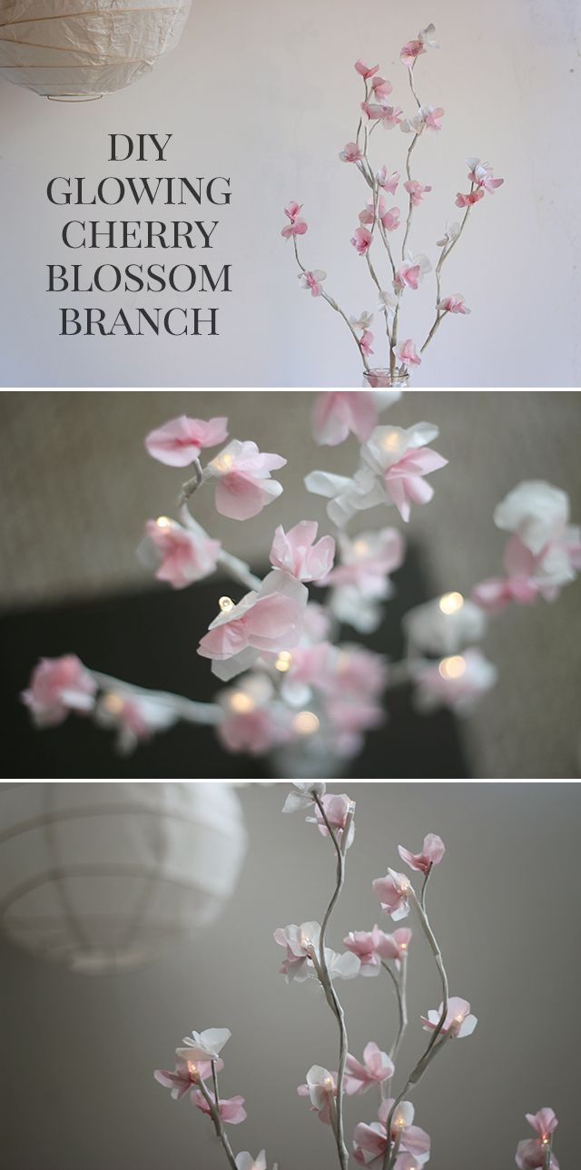 How To Make A Diy Glowing Cherry Blossom Branch Centerpiece Cherry Blossom Decor Paper Flowers Wedding Cherry Blossom Party
