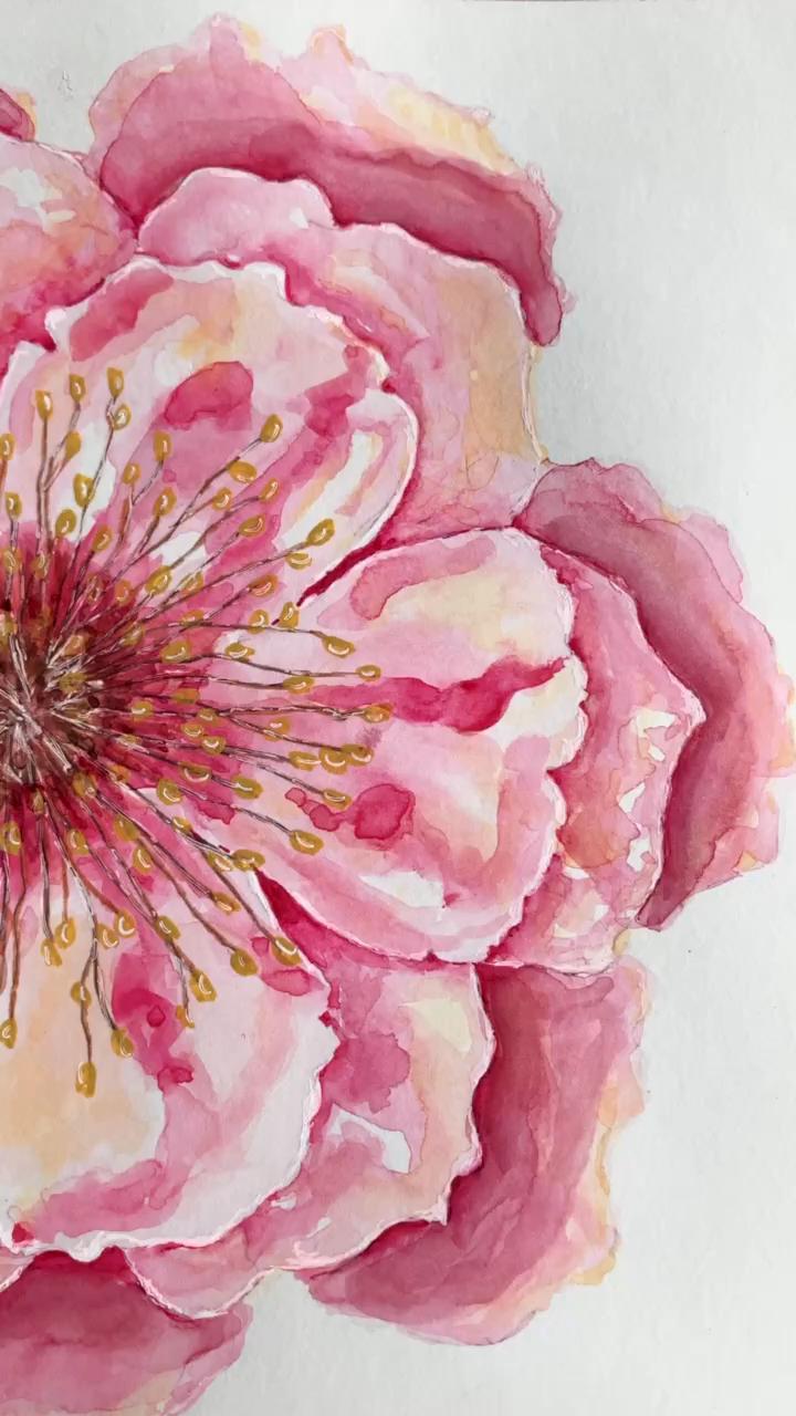 Pink watercolor flower by Lemon Petunia.