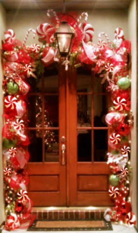 Candy Cane Front Door Garland Decorations Christmas Door Decorations Garland Decor Candy Cane Ornament