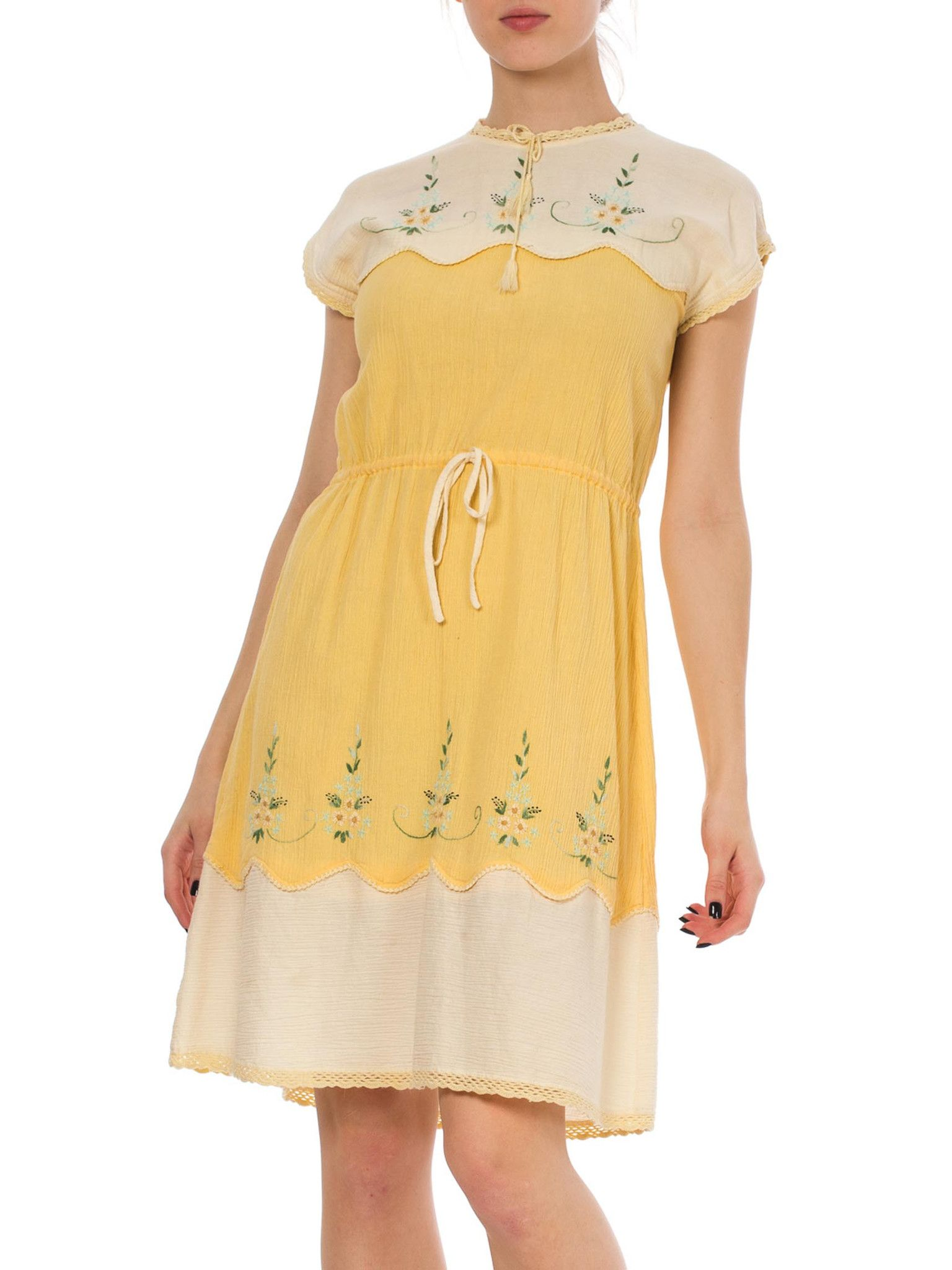 S floral hand embroidery yellow tea dress products pinterest
