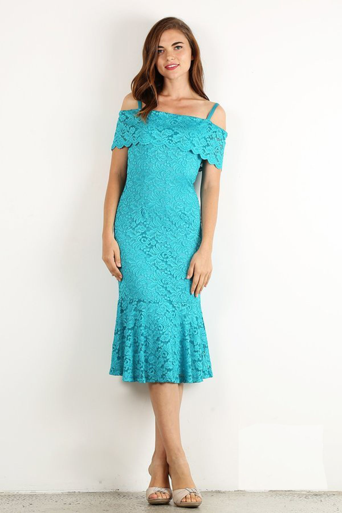 Teal Blue Sexy Short Cocktail Dress Solid color, short lace cocktail ...
