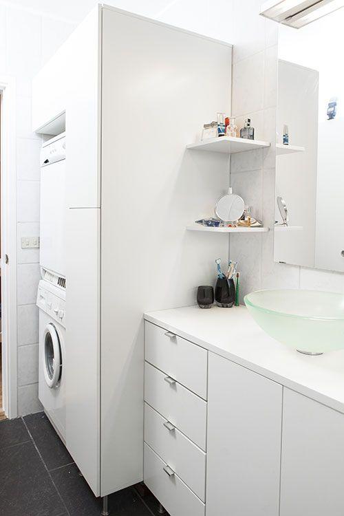 Custom made bathroom furnishings built around the washing ... on Small Space Small Bathroom Ideas With Washing Machine id=76691