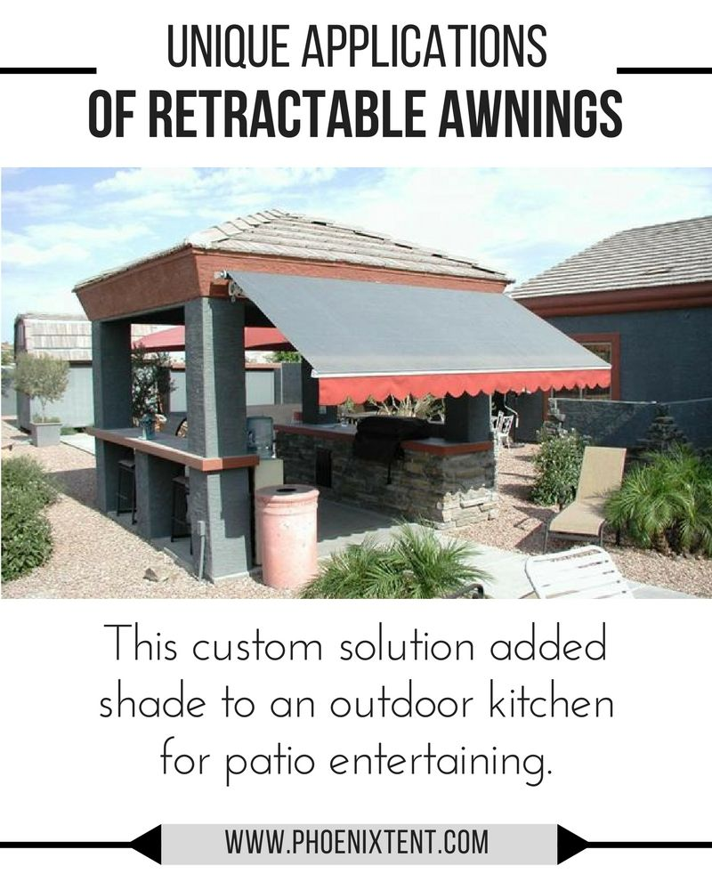 Custom retractable awning shades an outdoor kitchen in