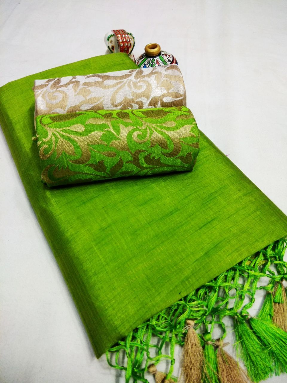New Arrival Partywear Light Green Colour Tussar Silk Double Blouse