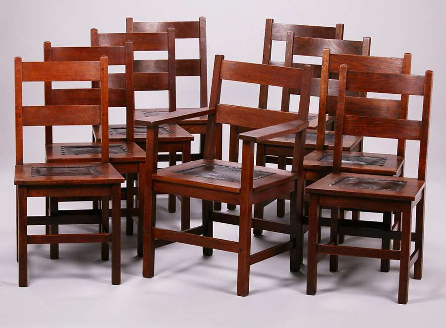 Set of 9 Gustav Stickley dining chairs with double ladder back ...