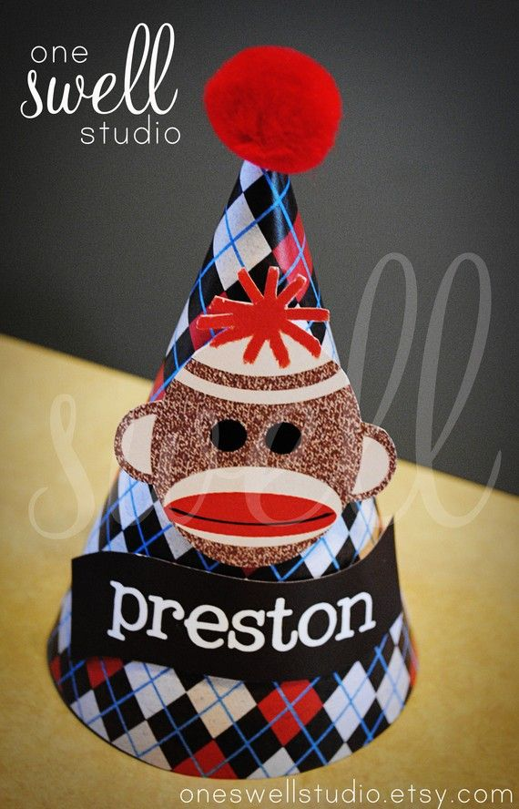 Personalized Sock Monkey Printable Party Hat by oneswellstudio, $6.50