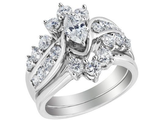 diamond marquise engagement ring and wedding band set 20 carat ctw in 14k white - Engagement Rings With Wedding Band