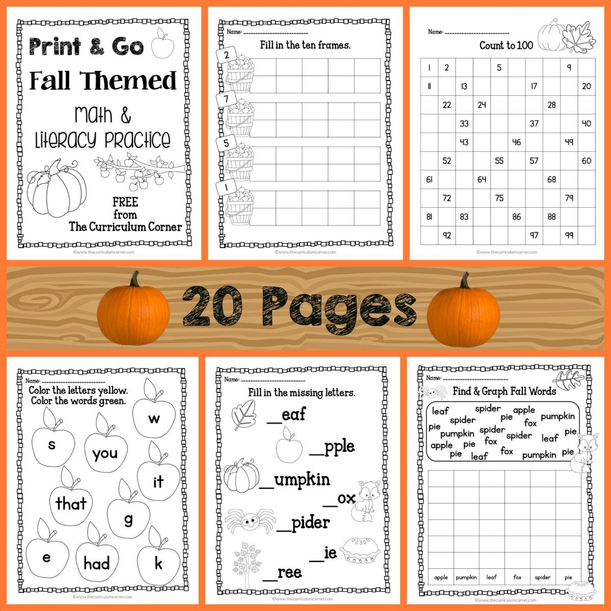 Fall Print & Go Math and Literacy Practice | Literacy, Maths and ...