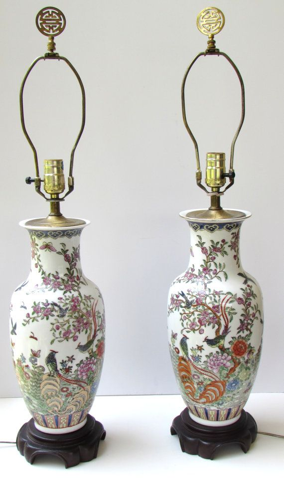 Pair Chinoiserie Porcelain Lamps   Pagoda Shaped Shades   Chinese Porcelain  Table Lamps   Vintage Table