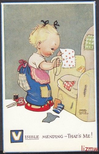 Mabel Lucie Attwell card | eBay sewing toddler visible mending art
