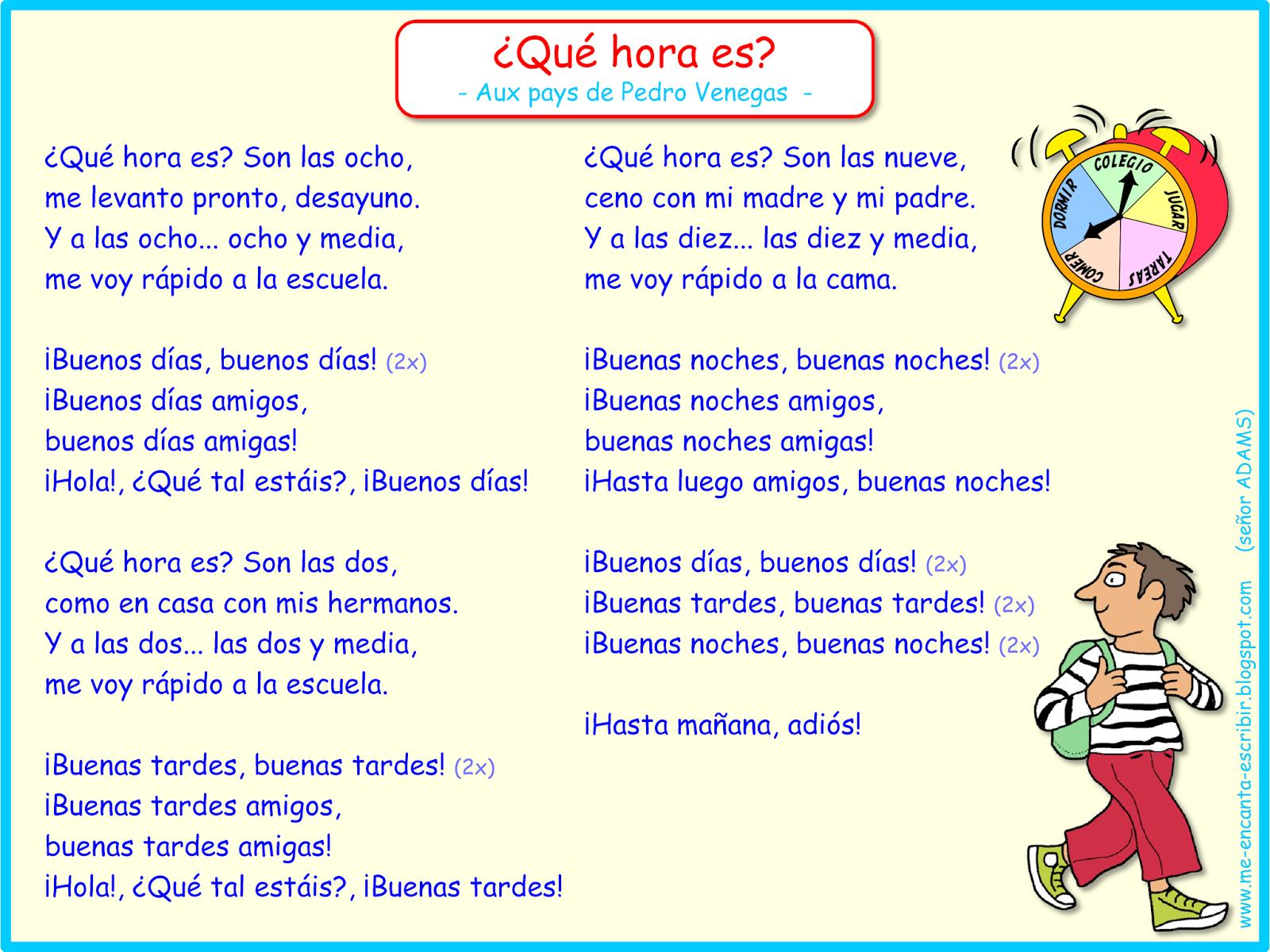 Cancion Que Hora Es Au Pays De Pedro Venegas Rutina