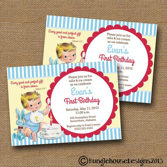 Babys First Birthday Invitation DIY PRINTABLE Vintage Baby Boy 1 Christian Scripture Bible Verse Card