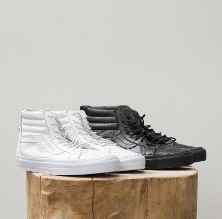 Vans Sk8 Hi Top - Tags  white   black leather sneakers fdc888cea