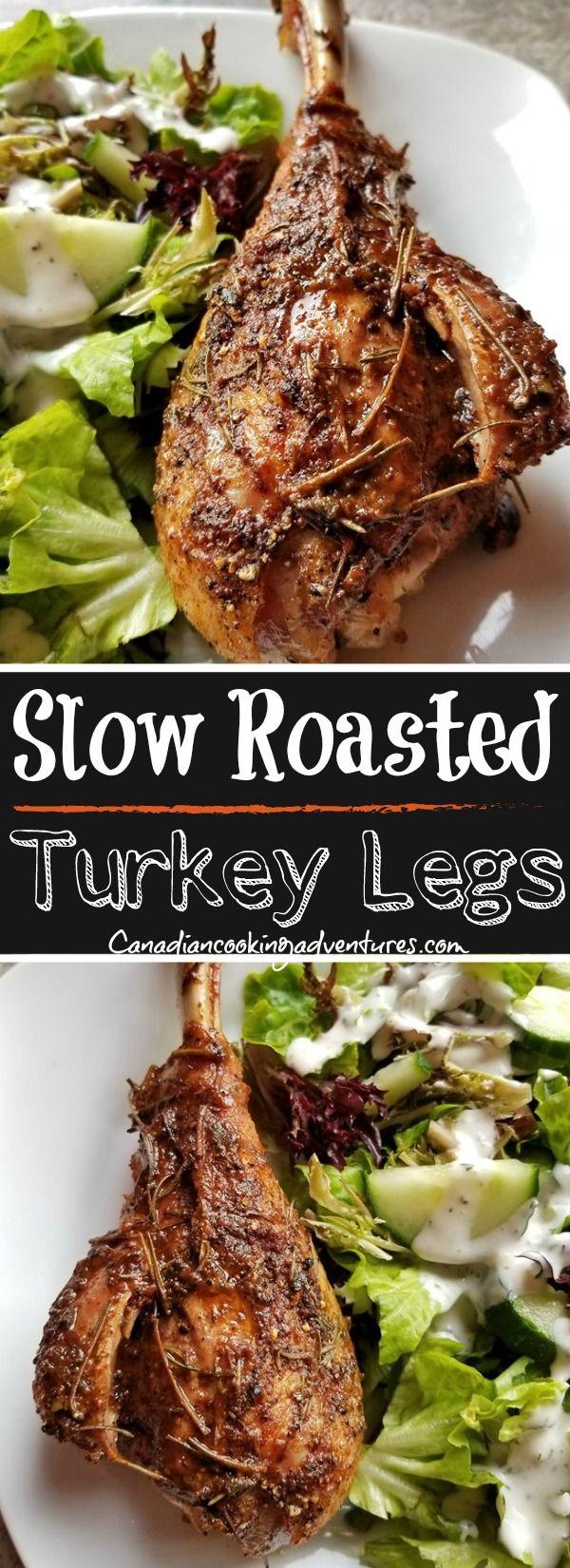 Slow Roasted Turkey Legs in 2020   Roasted turkey legs ...