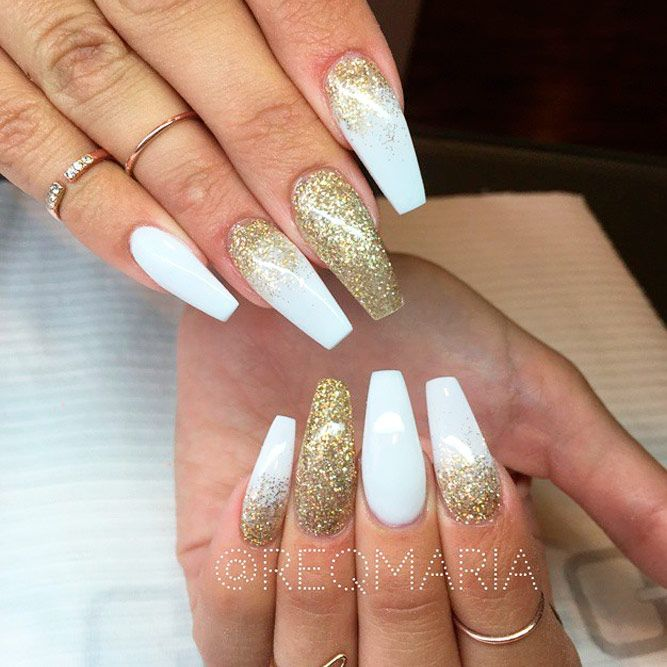 Elegant and Amazing White Nail Designs ☆ See more:  https://naildesignsjournal. - 21 Elegant And Amazing White Nails Nails, Acrylic Nails, Nail