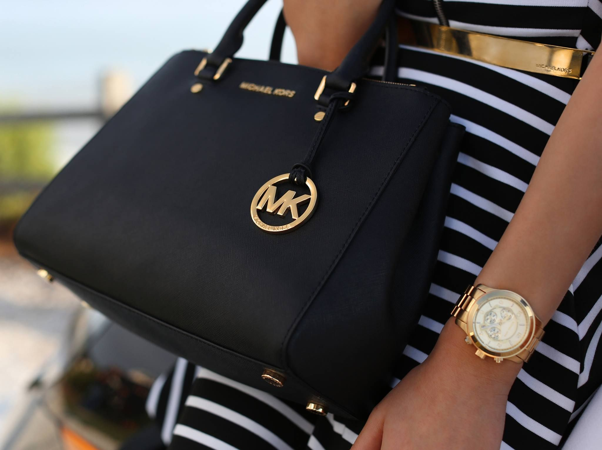 MK Black Leather Bag and Black   White Stripe Skirt | Black   ...