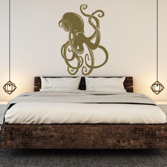 Large Octopus Vinyl Wall Decal Kraken Tentacles Ocean Sea