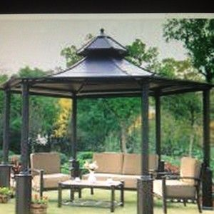 gazebo roofs sunjoy black metal hardtop hexagon gazebo 14 7 rh pinterest com