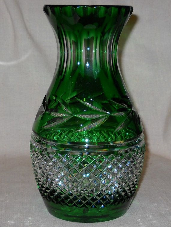Emerald Green Cut To Clear Crystal Vase By Galway Crystal Ireland