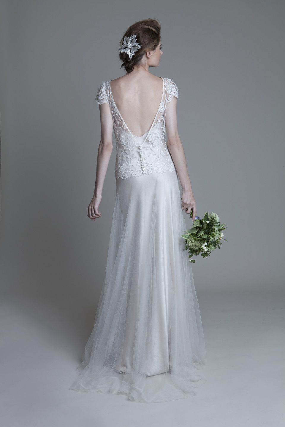 IRIS French lace and silk tulle wedding dress, backless wedding ...