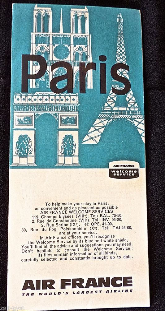 AIR FRANCE AIRLINES 1963-PARIS WELCOME SERVICE TOURIST MAP-GUIDE - new air france world map flight routes c.1948
