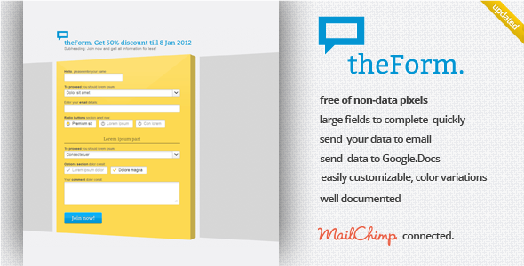 theform html sign up subscribe survey landing landing pages