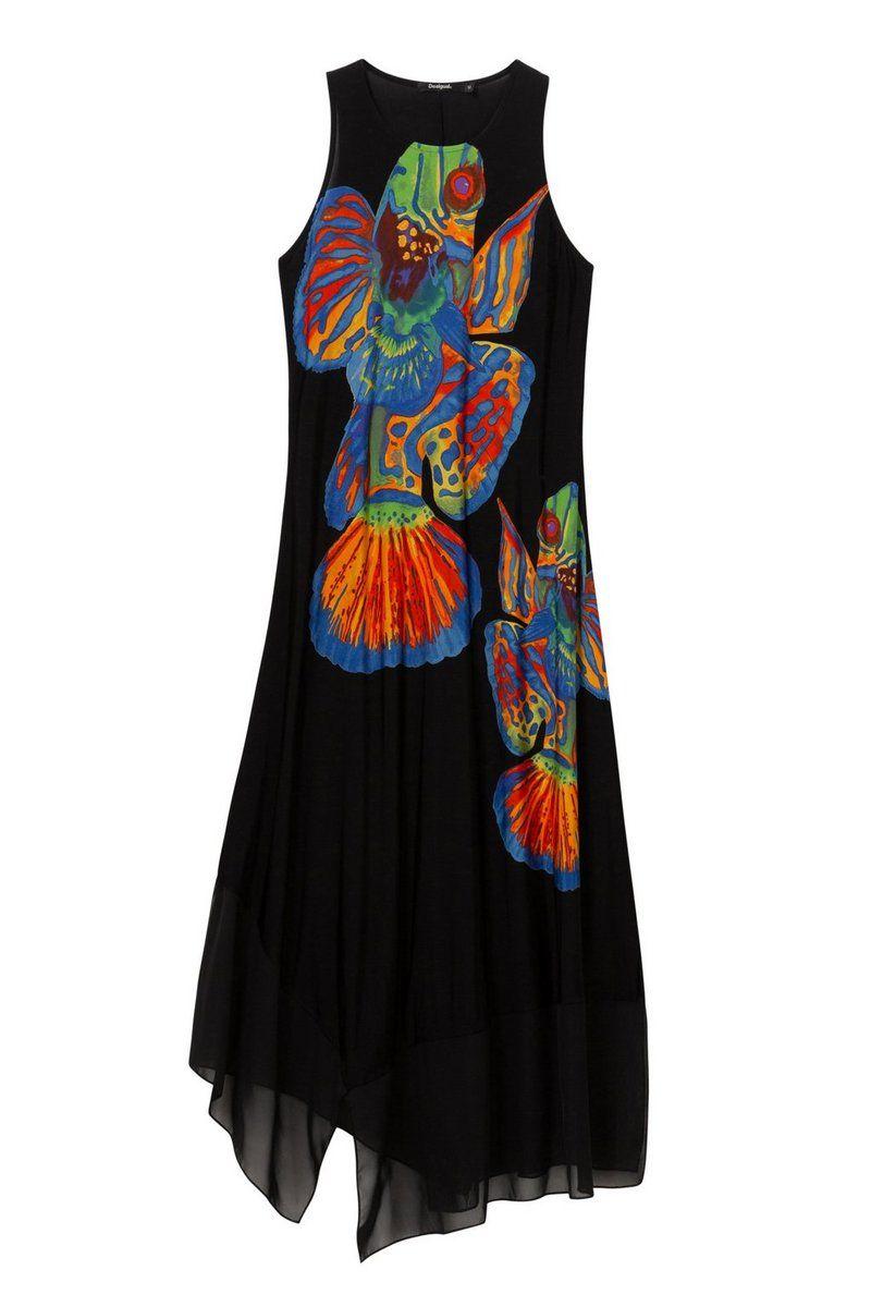 72698ba5933d9d Desigual Damen Asymmetrisches Kleid Fische Cristin #röcke #fashion  #damenmode #kleider