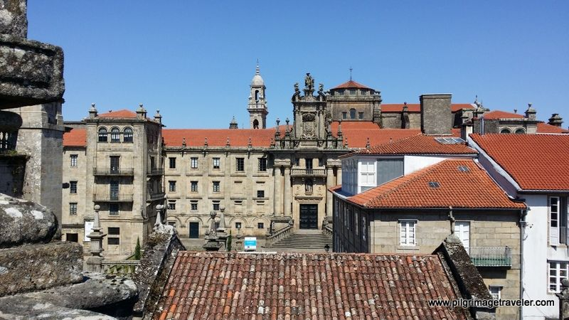 The Hospedería San Martín Pinario seen from the apse, looking north, on the rooftop of the Cathedral of Santiago de Compostela, Spain.