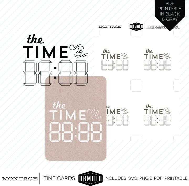 Montage  Digital Die Cut Time Card  Pl Journal Card Ideas