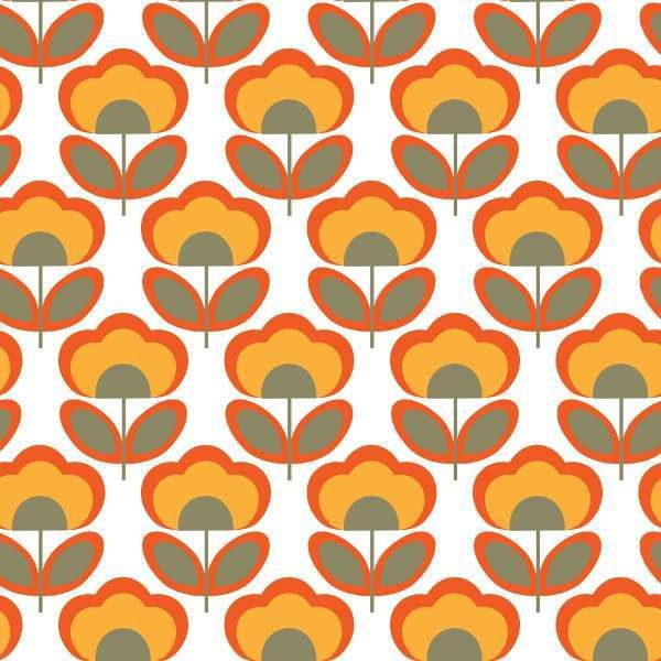 Carta da parati anni 70 fiori arancioni stampe vintage for Carta parati anni 70