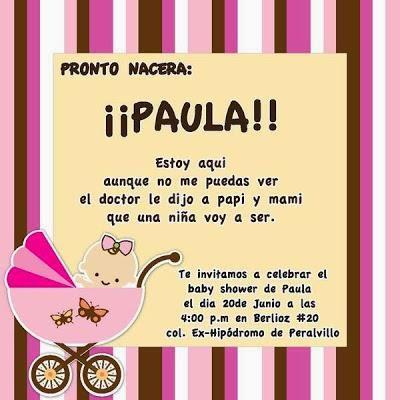 Tarjetas De Invitación Para Baby Shower Niña Paperblog Invitaciones Para Baby Texto Invitacion Baby Shower Baby Shower Invitaciones