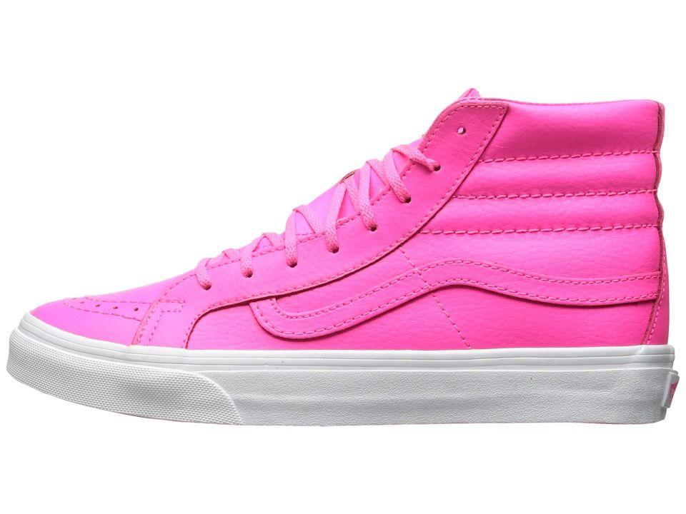 Vans SK8-Hi Slim Skate Shoes (Neon Leather) Neon Pink/True White