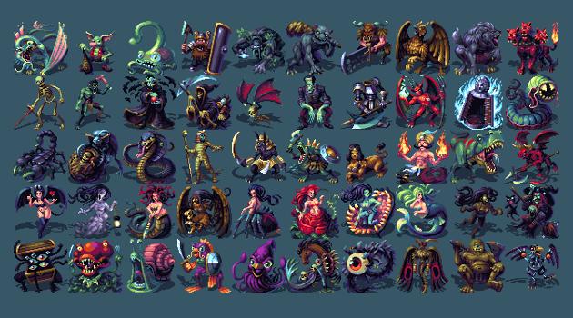 50 16-Bit Designer Fantasy Monsters | Character Design | Fantasy