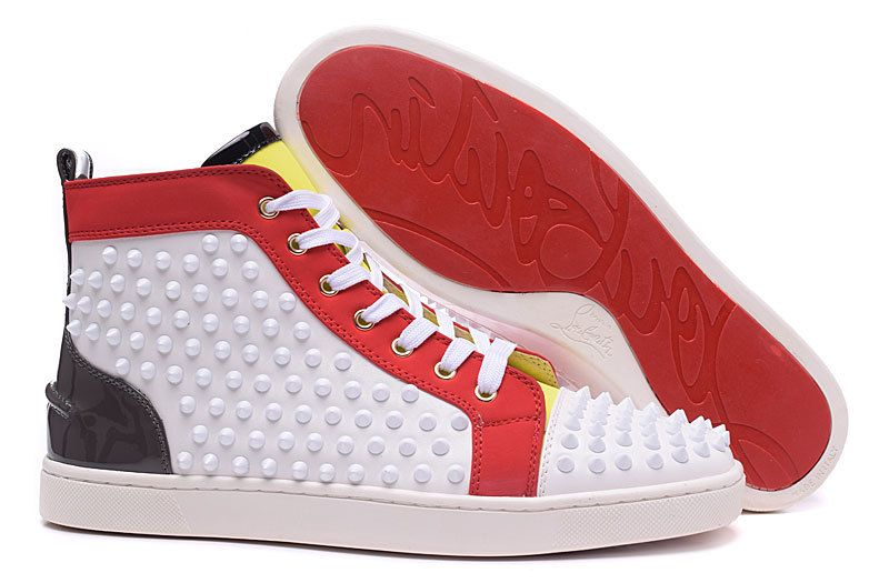 Christian Louboutin Louis Spikes Mens Flat High Top Leather Sneakers  Version\u2026