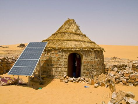 Traditional House With a Solar Panel in the Sahara Desert ...