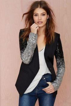 blazer sequin col simili cuir veste tailleur street chic femme mode pinterest veste. Black Bedroom Furniture Sets. Home Design Ideas