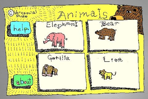 Animal Petting Zoo ($0.99) has 4 animals to play with; each animal has multiple actions & sound effects. Swipe across the screen right to left to pet the animal, tap the animal to Bop it, swipe across the screen bottom to top to lift it up in the air, or press the Feed and Roar buttons to hear the animals' realistic sounding voice. The animals don't just stand there like static pictures. When they are poked, petted, or lift into the air, they make noises to show a CAUSE & EFFECT.