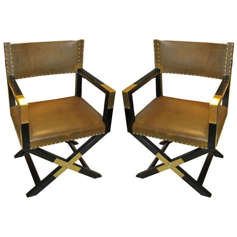A Pair of Ebonized Leather and Brass Director's Chairs | From a unique  collection of antique - A Pair Of Ebonized Leather And Brass Director's Chairs From A