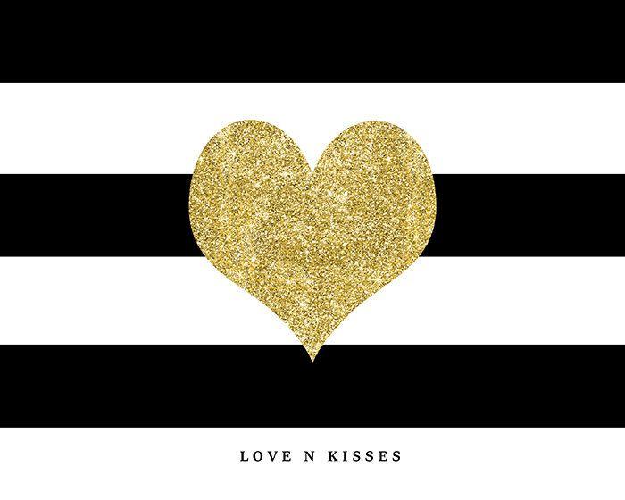Valentines Day Heart, Love, Kisses,Gold Glitter, Black & White ...