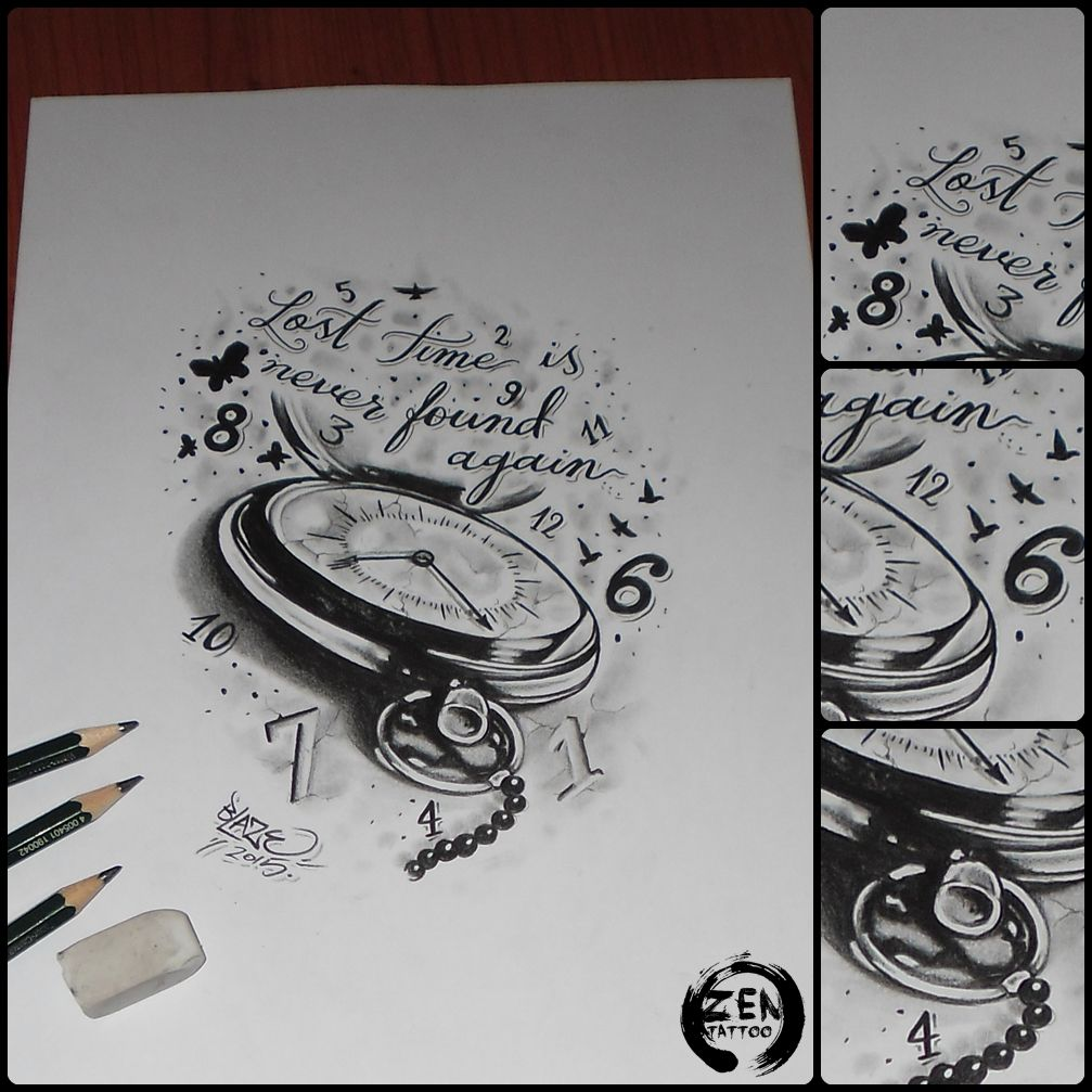 Tattoo Quotes Time: Lost Time Clock; Tattoo Design By Blaze #clock #time