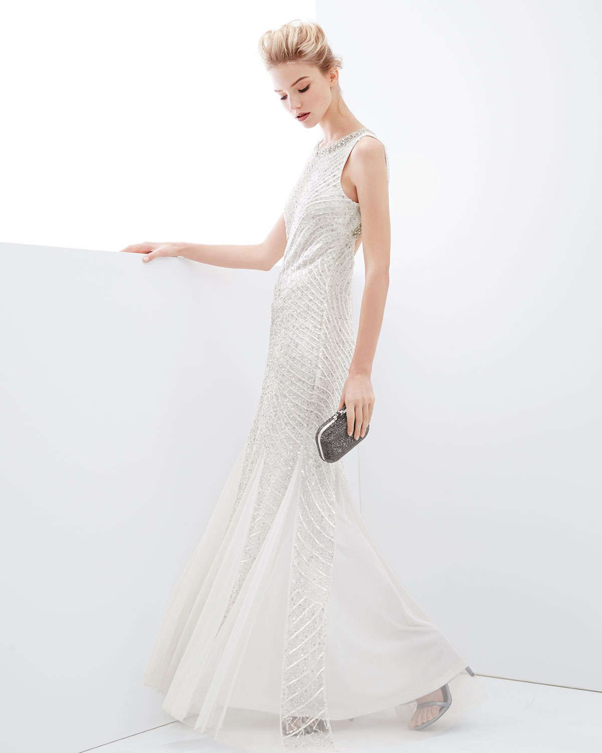 Aidan Mattox Sleeveless Beaded Gown with Cutout Back | white dress ...