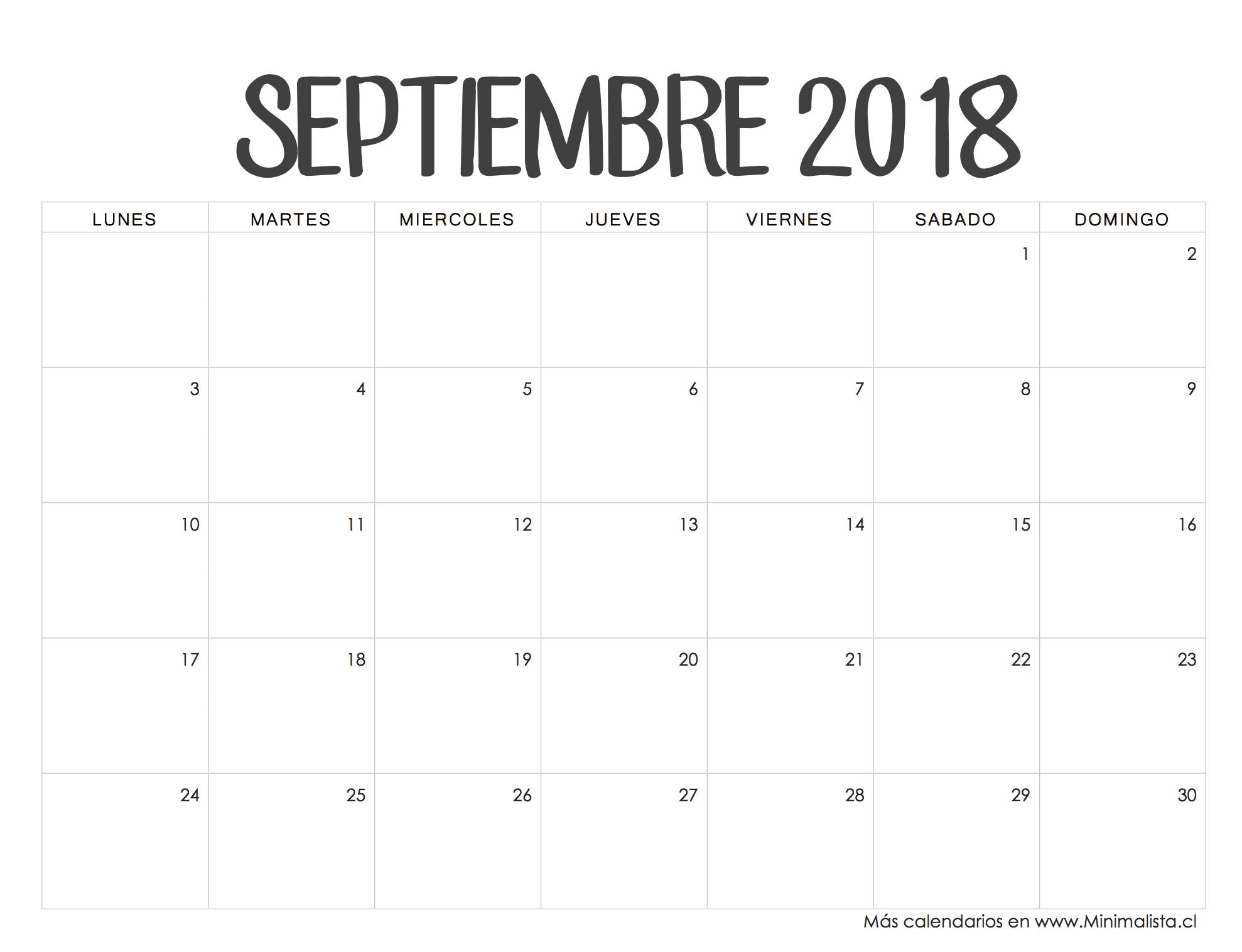 Calendario Septiembre 2018 | School tips | Pinterest | Calendario ...
