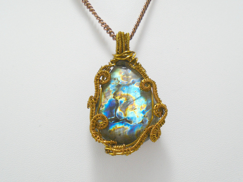 Labradorite Cabochon Necklace, Labradorite Pendant, Labradorite ...