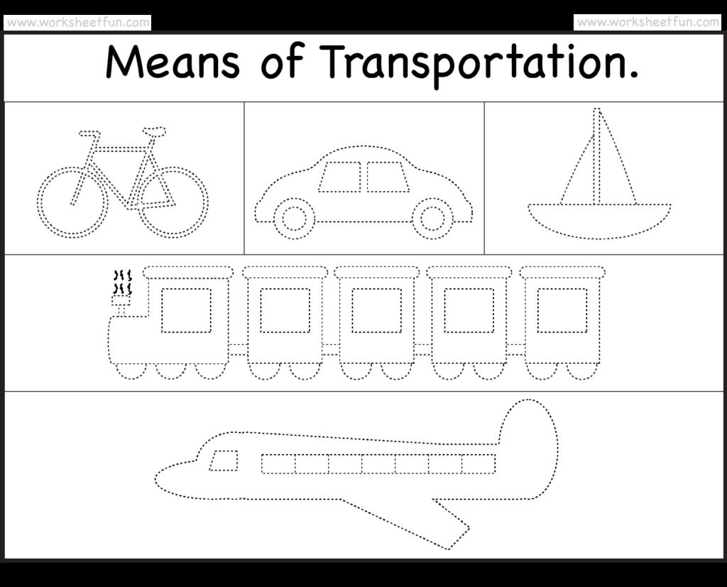 means of transportation tracing worksheet free printable kgi transportation worksheet. Black Bedroom Furniture Sets. Home Design Ideas